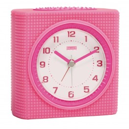 Quartz Alarm Clock Analogue Pink / White